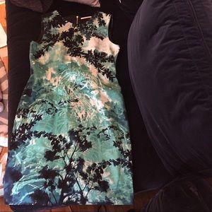 T Tahari teal floral dress